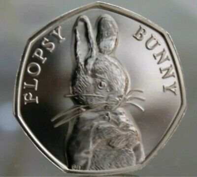 2018 Flopsy Bunny UK 50p Coin,Fifty Pence,GB,Beatrix Potter,Uncirculated/Unc