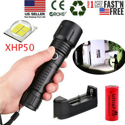900000Lumen xhp70 Ultra Bright LED Flashlight Torch Zoomable 5 Modes 18650 26650