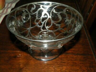 Etched Glass Footed Bowl Swirl Design Sterling Silver