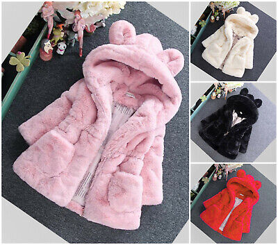 Girls Winter Coat Baby Toddler Warm Thick Hooded Soft Hoodie Parka Age 2-8 years