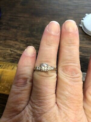 Antique Vintage Art Deco Diamond Solitaire Engagement Ring 14k