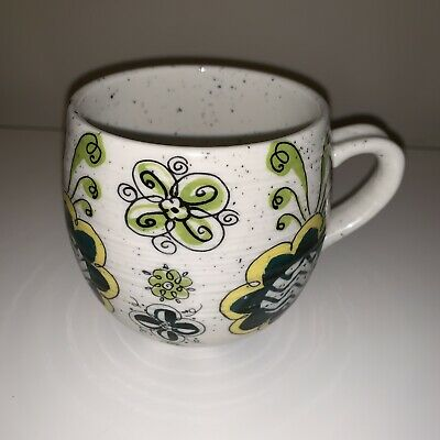 Anthropologie Biscuit Floral Boho Blue Green Yellow Coffee Mug Cup