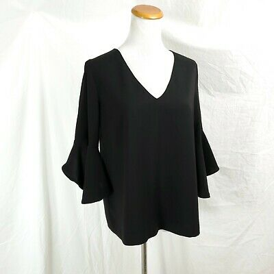 Do + Be Womens S Black Ruffled 3/4 Sleeve Blouse Top Split Back Goth Punk Gypsy