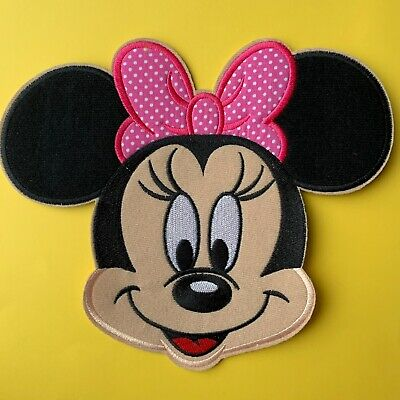 Extra Large Disney Minnie Mouse Pink Bow Embroidered Appliqué Patch Sew Iron On