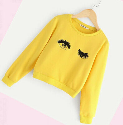 Girls Top Autumn Long Sleeve Sweatshirt Yellow tops Thick Toddler Age 4-11 years