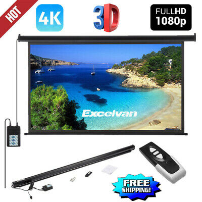 "Electric Motorized Projector Screen 4K 3D HD Projection 100"" with Remote Control"