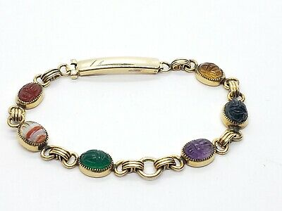 "Vintage Admark Egyptian Revival Scarab  Gemstones Gold Filled Bracelet 6""L 50s"