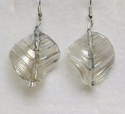 Stunning  Ab Silver Murano Glass Leaves Drop Earrings