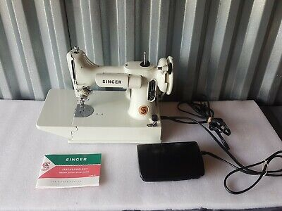 White Singer 221K Featherweight Sewing Machine With Original Manual