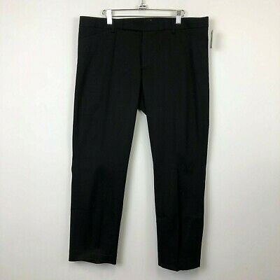NWT Gap Womens Black Stretch Slim Cropped Flat Front Pants- Size 14
