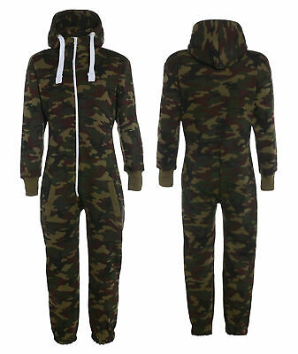 Kids Army Camo Print Hooded All In One Jumpsuit   Size 7-13yrs