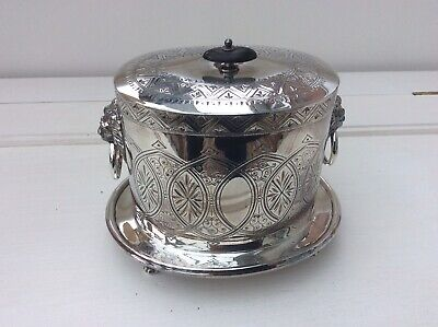Antique  Silver Plate Footed Engraved  Biscuit Barrell