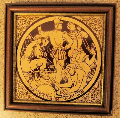 "Antique Victorian Minton Hollins English History Tile ""The Armada"" J Moyr Smith"