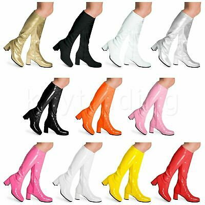 WOMENS LADIES FANCY VINTAGE 1950s 60s & 70s KNEE HIGH GO GO RETRO BOOTS SIZE 3-9