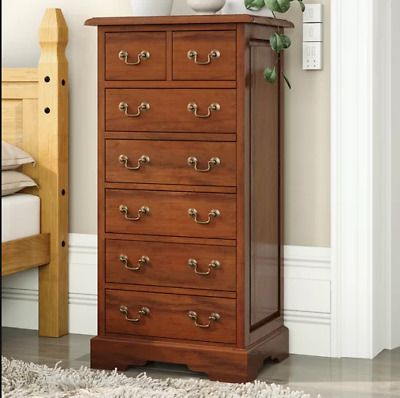 Solid Wood Tallboy Tall Chest Drawers Large Bedroom Furniture Antique Cabinet