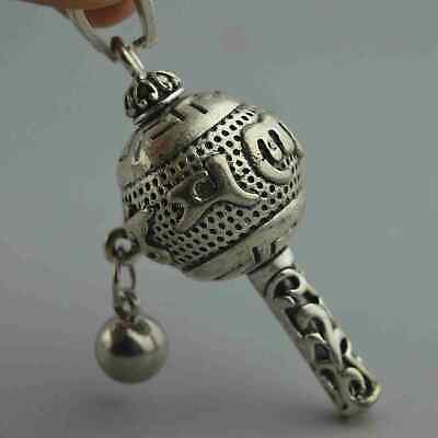China Collectable Handwork Old Miao Silver Carve Totem Ancient Exorcism Pendant