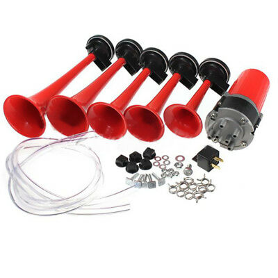 125dB 12V 5 Trumpet Musical Dixie Dukes Of Hazzard Air Horn Compressor Red Kit