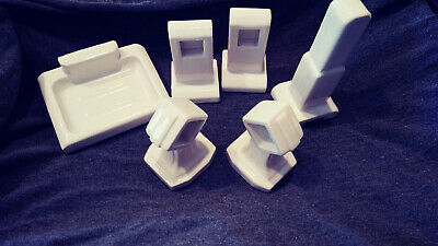 Vintage porcelain bathroom fixtures.Soap dish. 2 set towell bar holder.Robe hook