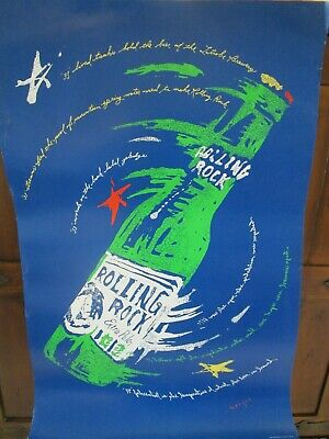 """1999 Rolling Rock Poster Latrobe Brewing 33 Degrees Extra Pale 22"""" x 35"""" Nice"""