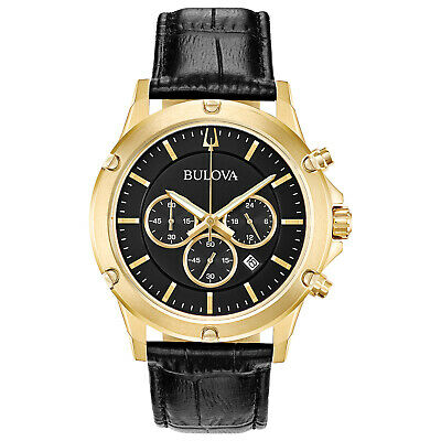 Bulova Men's Quartz Chronograph Gold Tone Black Multi Dial 42mm Watch 97B179
