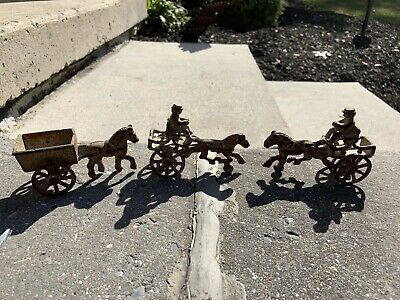 Antique Cast Iron Metal Horse And Wagon Lot