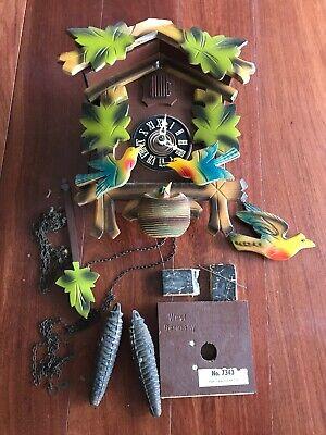 """Vintage Cuckoo Clock W. Germany, not working for repair or for parts 11"""""""