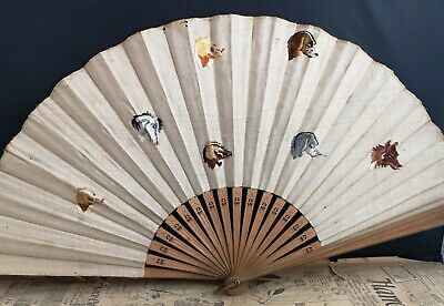 Antique silk fan, embroidered, dogs and horse