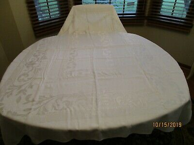 """Vintage White Damask Linen Tablecloth 70"""" By 50"""" No stains"""