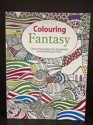 NEW - ADULT COLOURING BOOK - FANTASY - 70 SHEETS TO COLOURl