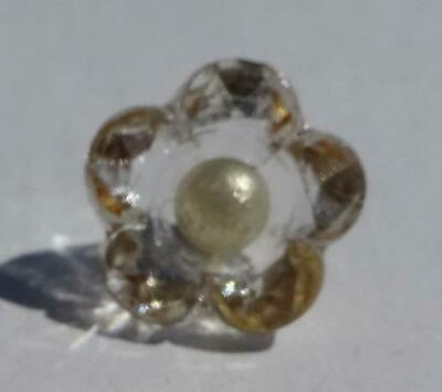 Vintage clear glass charm string button, pearl center
