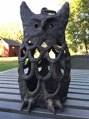 Vintage CAST IRON OWL LANTERN - Hanging or Table Top - Made in Japan