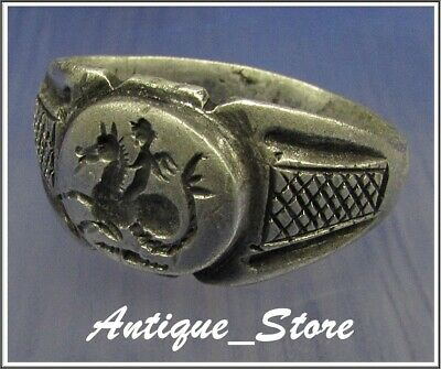 ** CUPID riding HIPPOCAMPUS ** Ancient Legionary Silver Greek Roman Ring *RARE*