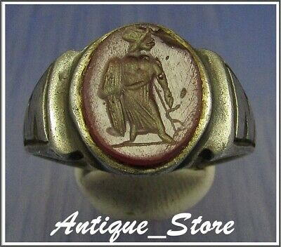 ** MERCURY holding SNAKE **Ancient Legionary Silver Roman INTAGLIO Ring **WOW**