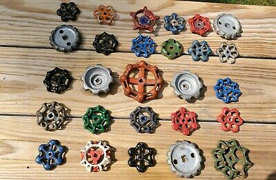 27 Vintage Antique Water Faucet Knob Valves Handle Steampunk Industrial Arts