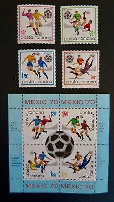 Romania 1970 World Cup Soccer Stamps , Mexico City