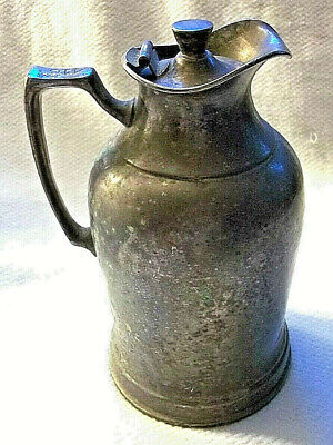 Nickel Silver Pitcher Milk Server Creamer Silver Plated Lid Wear-Brite Antique