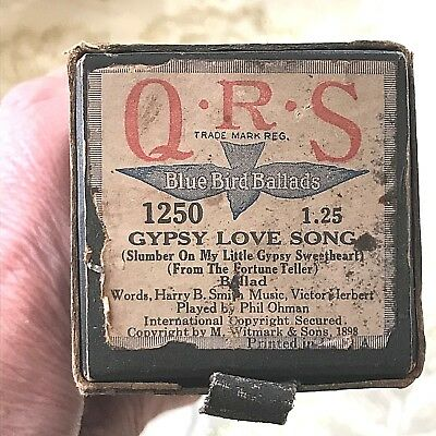 "QRS Player Piano Roll. Blue Bird Ballards ""Gypsy Love Song""  V. Good Condition!"