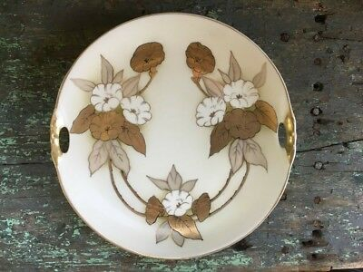 Antique Hand Painted Plate Cake 2 Handles Germany Gold White Flowers Silver Leaf