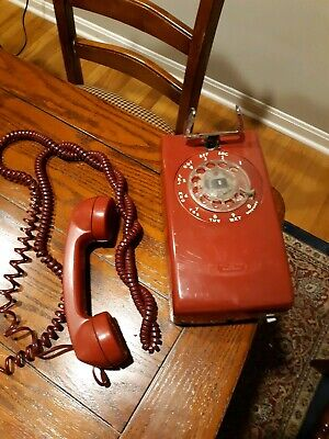 Vintage Red Phone Wall Rotary Dial Western Electric Bell System Long Cord Works