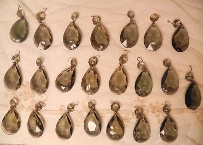 22 VINTAGE!!! Smoked Teardrop Crystals LOT for Chandelier, Lamp, Sconces
