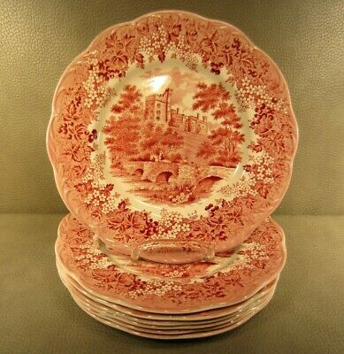 "Lot of 7 J & G Meakin 10"" Red or Pink Dinner Plates Romantic England Haddon Hall"