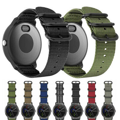 Military Woven Nylon Watch Band Strap with Metal Buckle For Garmin Vivoactive 3
