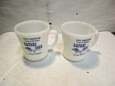 2 - 1969 Fire King Lions State Convention Lansing MI Advertising Coffee Mugs