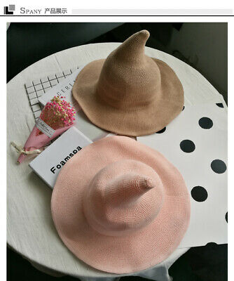 Wide Brimmed Women Wizard Witch Gnome Cap Boho Halloween Spiked Fency Hat^RY