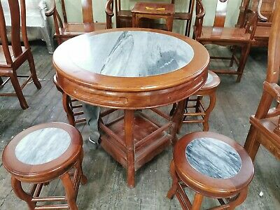 Set of 5 Vintage Style Rosewood Marble Stone Dining Table With 4 Chairs