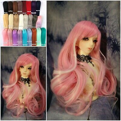 1/3 8-9 (20-22cm) BJD Doll Hair Wig Heat Resistant, pink white mixed,custom-made