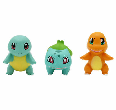3pcs Pokemon Go Bulbasaur Charmander Squirtle Mini Figure Toy Gift