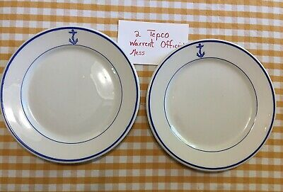 """2 Vintage USN US Navy Warrant Officers  Mess Fouled Anchor 9"""" Plates Tepco USA"""