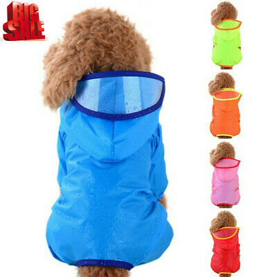 Pet Dog Rain Coat Clothes Puppy Waterproof Jacket Raincoat  Hooded Outdoor UK