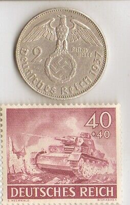 "*us-*WW2-silver NICKEL(350%)+*german(625%) coin/STAMP(""TIGER"" - tank)"